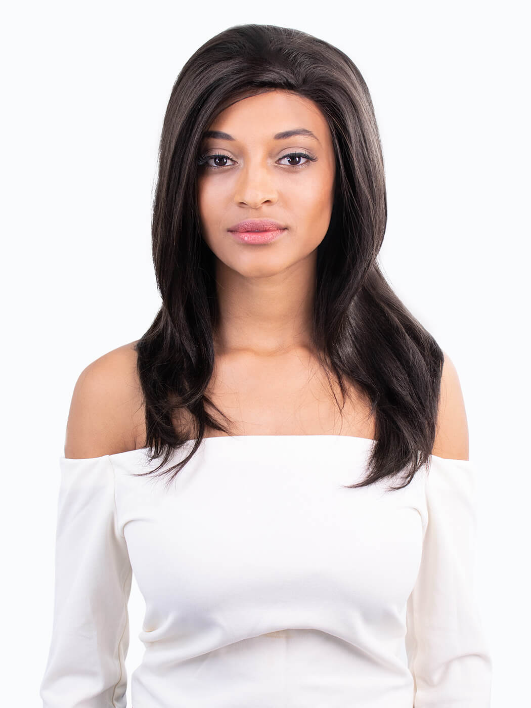 Sensational - Tim Carli long brown wig | Front vew on model | Human Hair Wig | Lace Front Wig