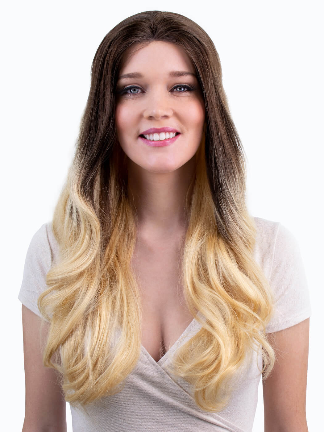 Ethereal - Dark Rooted Blonde Wig   Front View On Model   Human Hair Wig   Long Wig