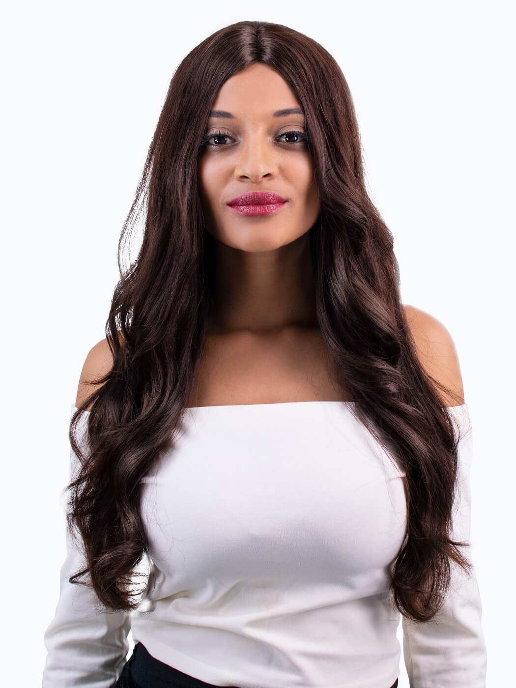 Amour - Tim Carli long wig on model front view | Long human hair wig | Capless Wig