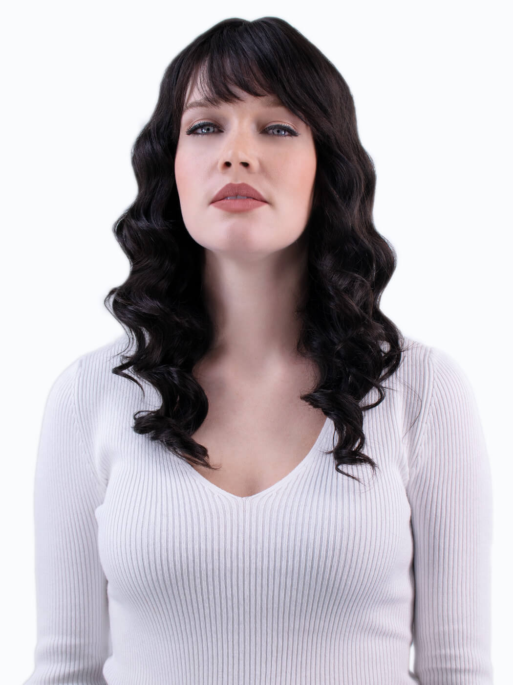 Reverie - Shoulder Length Human Hair Wig On Model Front View | Dark wig with bangs
