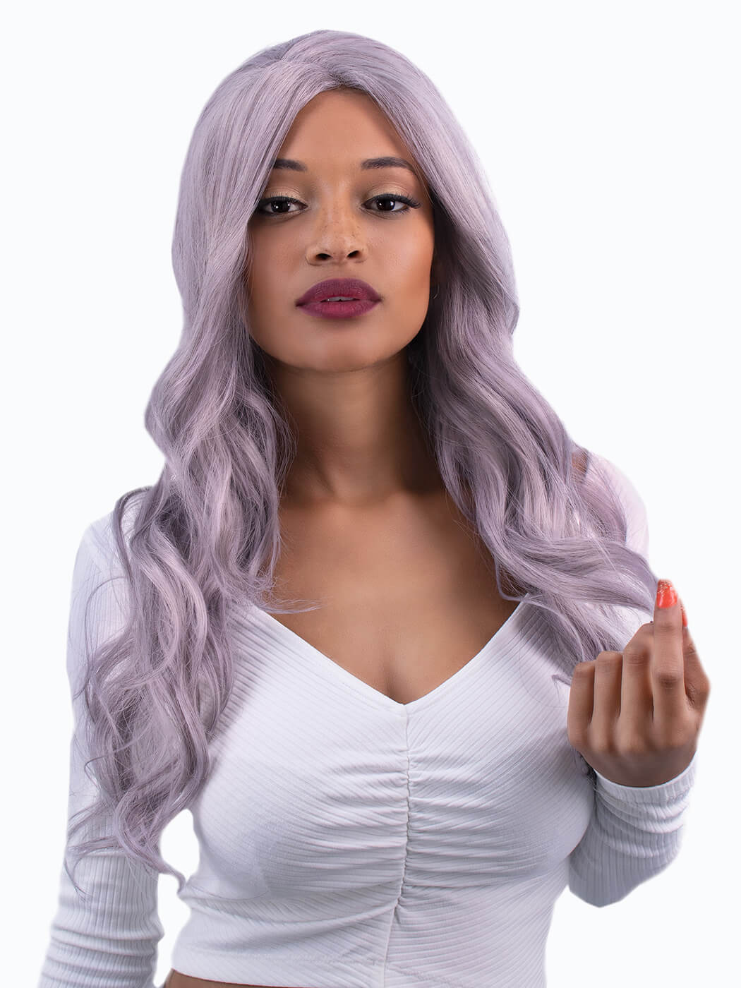 Iridescent - Tim Carli Long Light Purple Wig front view | Synthetic Wig | Cosplay Wig