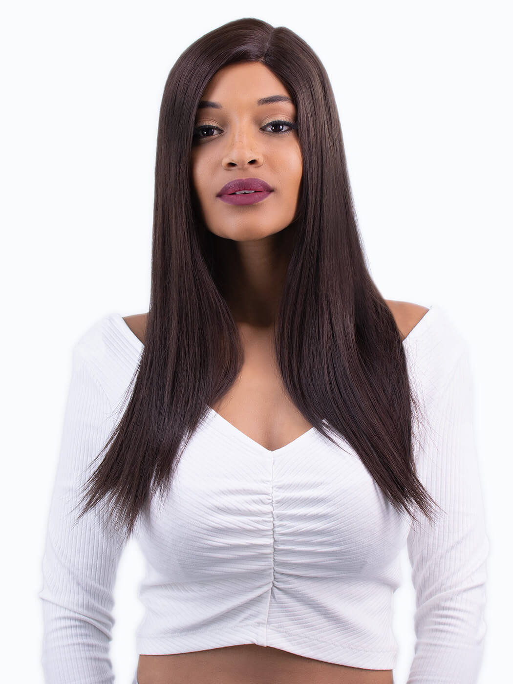 Velvet - Tim Carli straight brown wig worn on model front view | Lace Front Wigs | Long wigs | Quality wigs